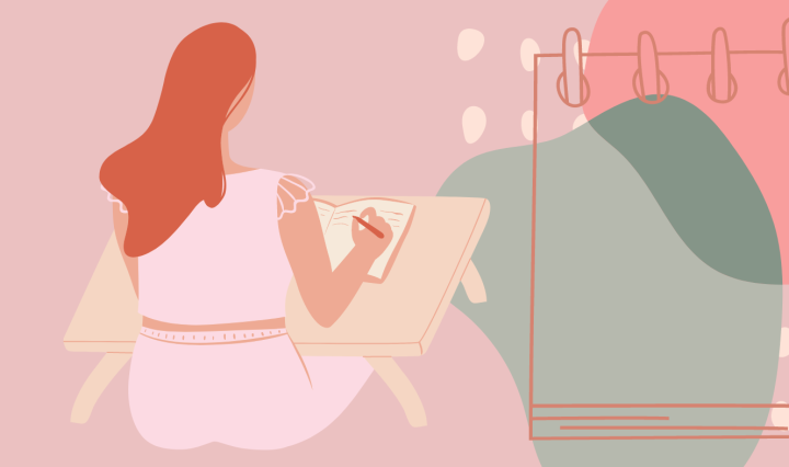 Animation of a woman sitting at a desk and writing in a notebook